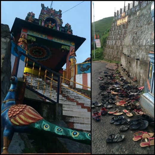 Hindu temple in Munnar. Notice all the shoes on the ground. You have to take off your shoes every time you enter a temple, a house, a hotel even stores sometimes.