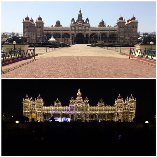 Palais du maharaja de Mysore. Il vit toujours dans une partie du palais et le reste se visite.