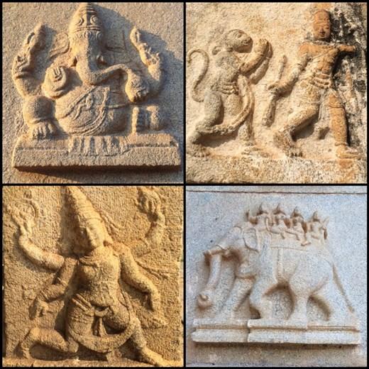 Sculptures très bien conservées dans certains temples du site de Hampi.
