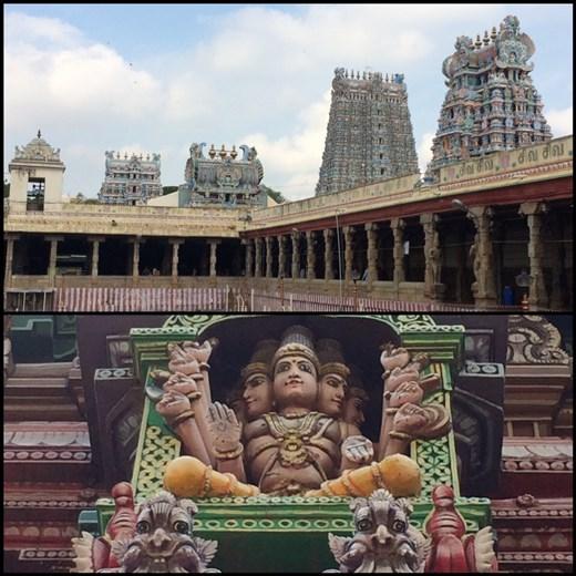 L'ensemble de temples colorés hindous à Madurai et la photo du dessous montre une sculpture qui se trouve sur une de ces tours.