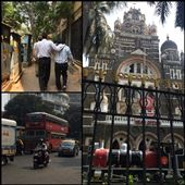 Mumbai. Men are very affectionate with each other in India. Yes, they even hold hands. Very cute for us but apparently there's nothing at all homosexual at all for them! And a red London double-decker bus! Feels like we're back in London!!!: by finally, Views[208]