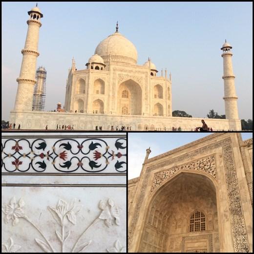 Le Taj Mahal sous différents angles et les détails de ses murs de marbre blanc.