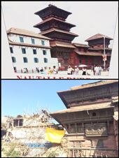 Le centre historique de Kathmandu appelé Durbar Square a été pas mal endommagé par le tremblement de terre. Vous pouvez voir l'avant et l'après.  Facilement la moitié des bâtiments se sont écroulés, donc très peu à voir ici pour les touristes. : by finally, Views[194]