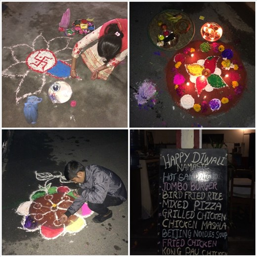 Diwali festival in Pokhara. Typical decorations in front of the entrance of their homes.