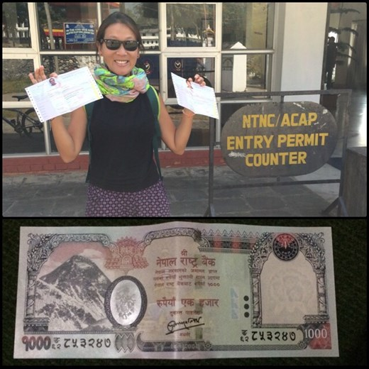 Just received our trekking permits, we are ready to hike in the Himalayas! :-) Nepal is all about mountains as we can see on the 1000 rupee bill.