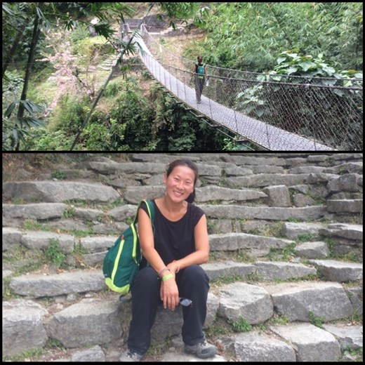 Top; bridge during the trek. Below; AF taking a break during the 4000