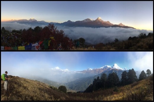 Top; you can see the light of the sunrise slowly hitting he peak of Annapurna south. Bottom; 9am and the last photo we got before it clouded up again. :-(