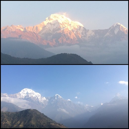 Sorry, more Annapurna south and another sunrise. ;-) Start of 3rd day, even closer view than 2nd day but the clouds soon took over. Top; sunrise. Bottom; later in the morning.