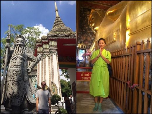 Ils donnent un genre de peignoir vert à l'entrée du temple pour les personnes qui ne sont pas assez couvertes. Apparemment j'étais trop sexy ;-) hihi