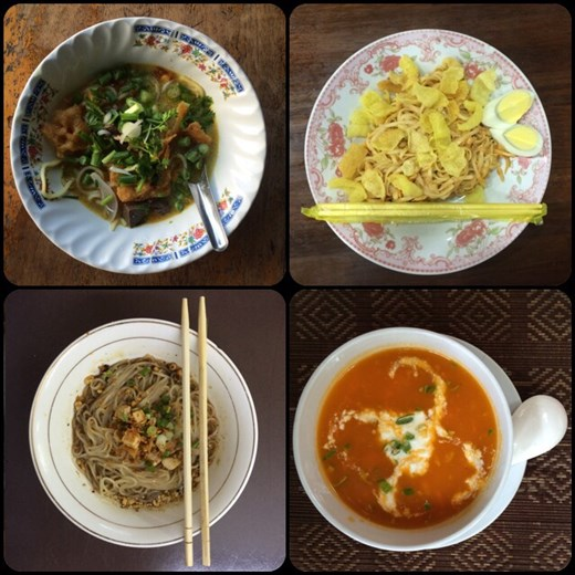 Different kinds of noodles. Shan noodles are a typical dish of Myanmar. The photo on the bottom right side is a papaya soup, it was delicious and very unique.