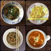 Different kinds of noodles. Shan noodles are a typical dish of Myanmar. The photo on the bottom right side is a papaya soup, it was delicious and very unique. : by finally, Views[151]