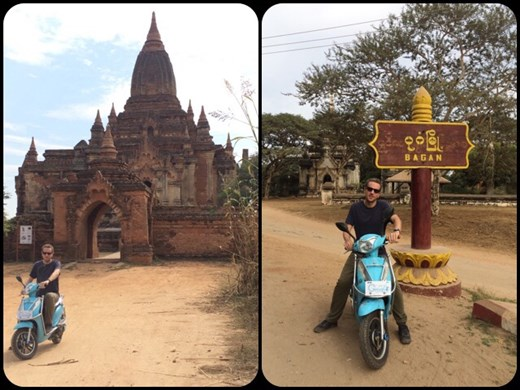 Visit of the Bagan site with an electric bike, locally called e-bikes. The site is very big and it's hot so you really need an e-bike!