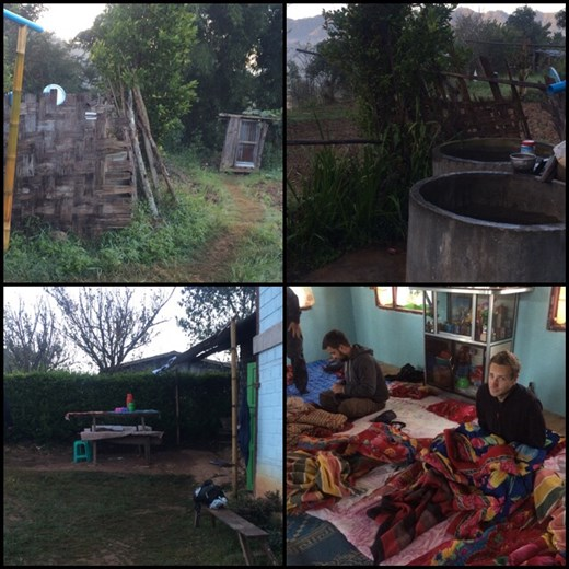 Homestay during our trek. Very basic conditions. Counterclockwise from top-right: you can see