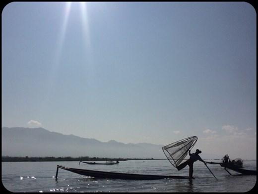 Typical fisherman on Inle lake.