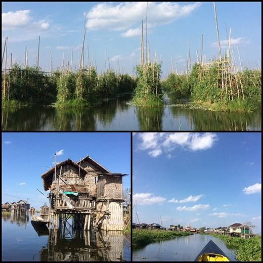 Floating gardens. Fishermen houses on Inle lake. Boat ride on the lake.