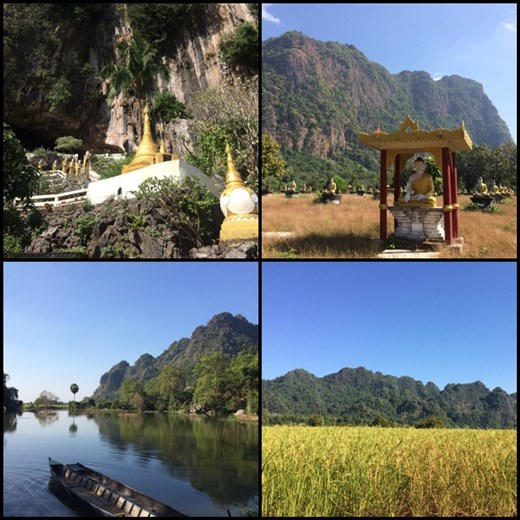 Exploring the countryside around Hpa-an. Lots of rice fields and sacred Buddhist caves.