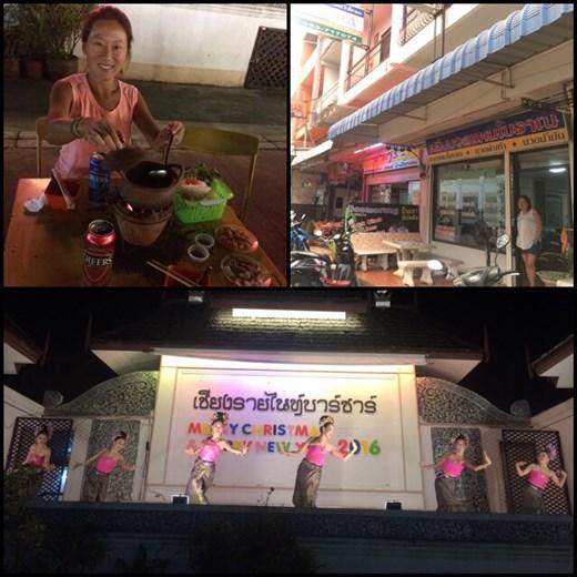 Une sorte de fondue chinoise en plein air au marché local. Les salons de massage s'enchaînent les uns après les autres; les massages thaï ne font d'ailleurs pas vraiment dans la douceur mais agréables quand même. Spectacle de danse thaï au marché local.