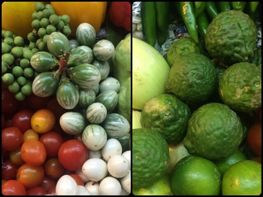 Shopping for vegetables at the local market for our cooking class. On the left, there are tiny eggplants that look like green peas. On the right, kefir limes.