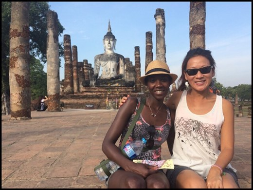 Visit of the UNESCO site of Sukhothai on Dec. 24th. With my friend Christine! :-)