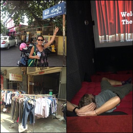 Influence française dans le nom des rues de Phnom Penh. Partout au Cambodge, on voit la lessive séchée dehors comme ça. Petite soirée ciné couchés sur un futon.
