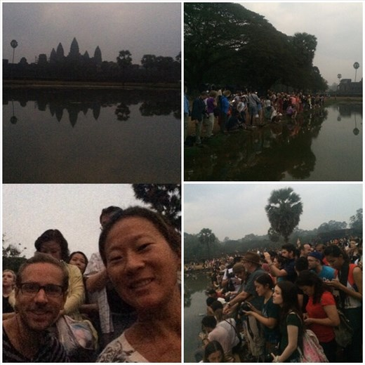 Thousands gather at Angkor Wat for ... the worst sunrise ever. :-( Too cloudy! Woke up at 4am to beat the crowds for this? :-(