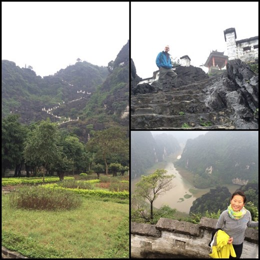 Going up 450 stairs to have an amazing view of the quintessential Vietnam karst scenery.