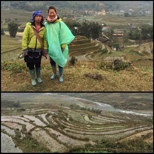 Le deuxième jour, le temps était meilleur un peu plus dégagé du coup on pouvait voir les rizières. Photo du haut: AF avec notre guide du groupe des Hmong.