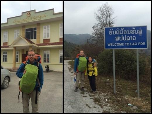 Photo de gauche: frontière du côté vietnamien. Photo de droite: nous arrivons à pied au Laos.