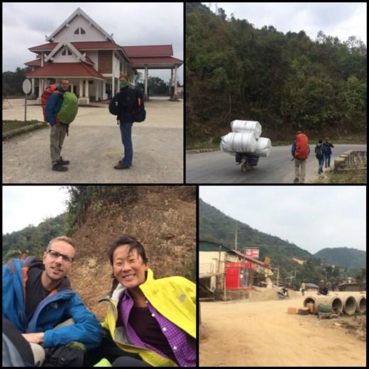 Photo en haut à gauche: poste frontalier du Laos où nous avons été arnaqué comme pas possible. Photo en haut à droite: nous marchons plusieurs kms dans l'espoir de voir quelconque moyen de transport qui pourrait nous amener jusqu'au prochain village. Le monsieur aurait pu quasiment nous prendre tous sur son scooter. ;-) hihi. Photo en bas à gauche: à l'arrière d'un pick up. Première fois que nous faisions du stop. Photo en bas à droite: enfin arrivés au village de Muang Mai et en plus il y a un ATM!!! :-) ouf!