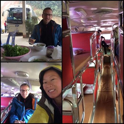 Sleeping bus de jour avec couchettes superposées comme en Inde en direction de Luang Namtha. Photo du haut à gauche: Kurt qui prend le petit déjeuner à 7h du matin avant le bus (soupe de nouilles comme au Vietnam, genre de Pho).