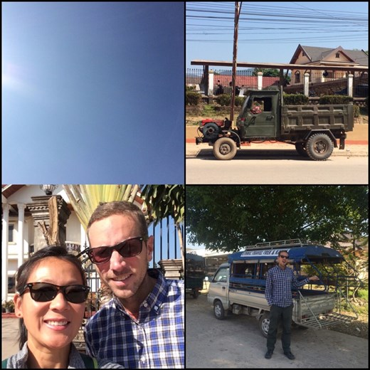 Frontback with the blue blue sky! :-) Interesting vehicles in Laos.