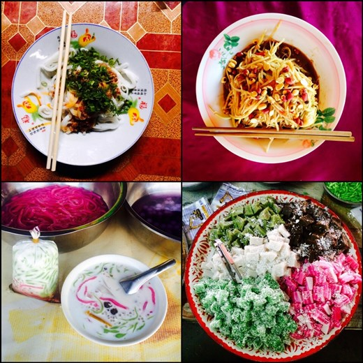 Noodle dishes at the top and Laotian coconut milk based desserts at the bottom. Yummy!