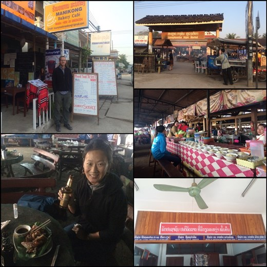 Great food at the night market in Luang Namtha. In the governmental institutions like the post office, it's written both in French and Laotian. Kurt is looking for a trek by checking the white board in front of each travel agency.