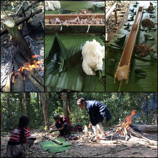 Lunch made from everything of the jungle ( rattan roots, banana flowers, bamboo to cook the food, etc.)