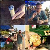 Photos du haut: il s'agit de riz collant sucré dans un morceau de bambou.  Photos du bas: il s'agit d'un genre de mini gauffre/crêpe. : by finally, Views[255]