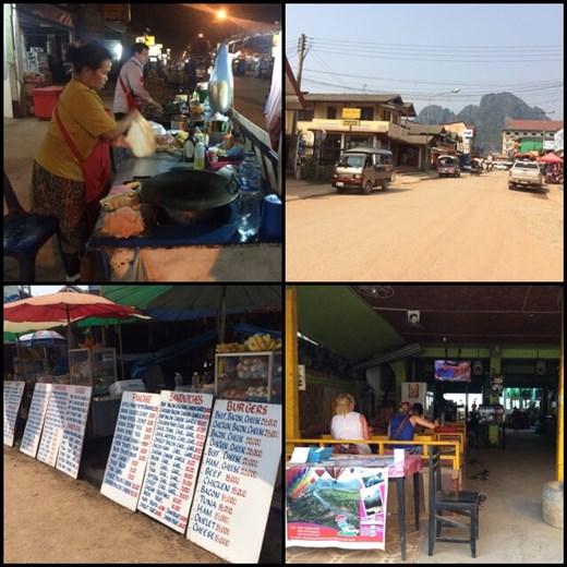 Vang Vieng et ses restaurants avec Friends en boucle, ses vendeurs de bouffe occidentale et ses rues non pavées très poussiéreuses mais avec des montagnes superbes en fond.