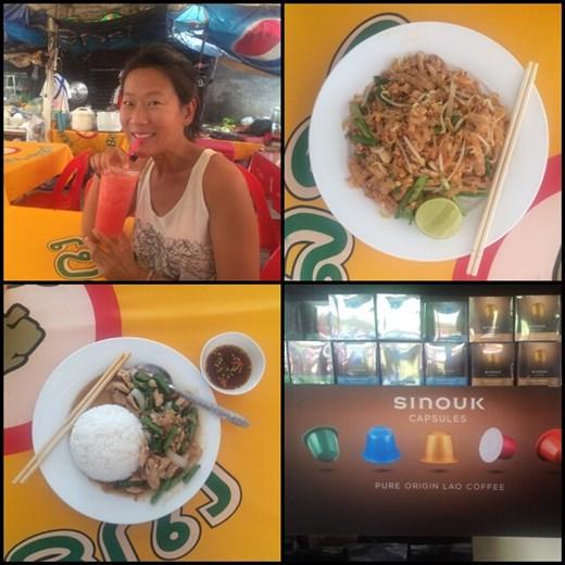 Déjeuner à Vientiane: AF avec un jus de pastèque fraîche, trop bon! Pad thai et poulet au basilic avec du riz, Miam! ;-) Ils font de la contre-façon des capsules Nespresso ici au Laos, dommage qu'on ait pas de place pour en ramener. Hihi