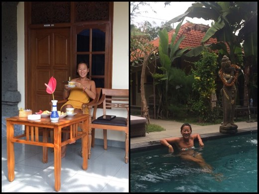 In Ubud, splurging for less than $30 per night in a nice hotel, even with a swimming pool. ;-) It's what life would be like on a regular vacation... :-)