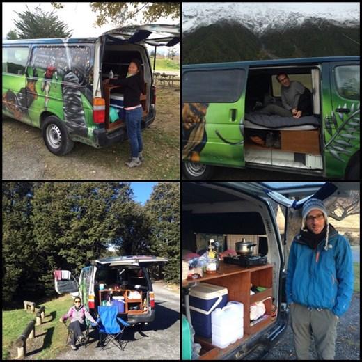 Camper van qui fait tout: lit, salon, même que AF a fait la vaisselle sur la pointe des pieds :-(