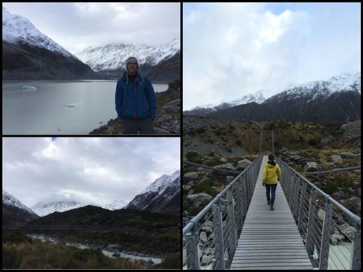 Randonnée jusqu'au glacier du Mont Cook avec même des petits icebergs qui flottaient sur le lac glacière.