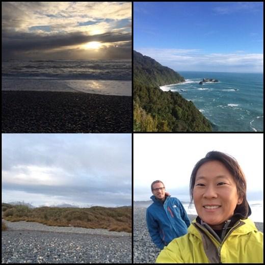 On a passé une nuit dans un site de camping gratuit cette fois-ci très bien situé, entre la mer et les montagnes comme le montre le frontback. La photo en haut à droite a été prise en chemin; la route longeait le littoral.