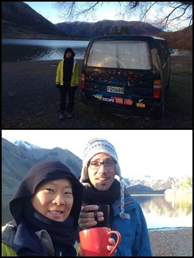 Lever matinal dans le froid presque glacial dans le parc national de Arthur's Pass mais quel cadre superbe! C'était d'ailleurs notre dernière nuit dans le camper van. Déjà fini, dommage!