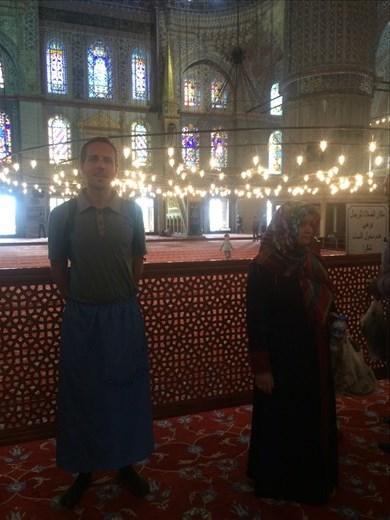 A l'intérieur d la mosquée bleue.