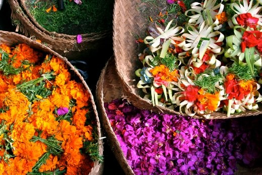 Flower petals are prepared and sold fresh daily for Hindu offerings to the gods.