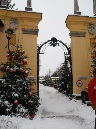Gates to hellbrunn...we have seen these before...in the dark, lots of snow.