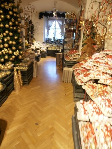 Christmas in Salzburg store. Handpainted glass and eggs for all occasions.