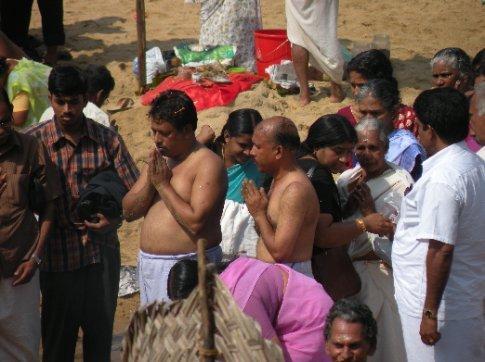 Varkala, festejo de Diwali en la playa