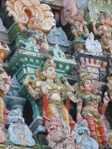 Madurai. Detalle gopura (torre) templo Meenakshi Sundareshwara