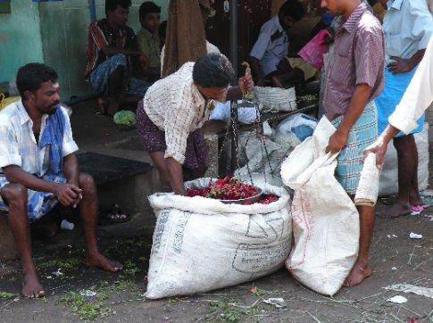 Camino Madura a Trichy. Mercado de flores