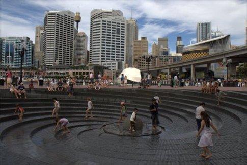 Darling Harbour, fuente para refrescarse los pies